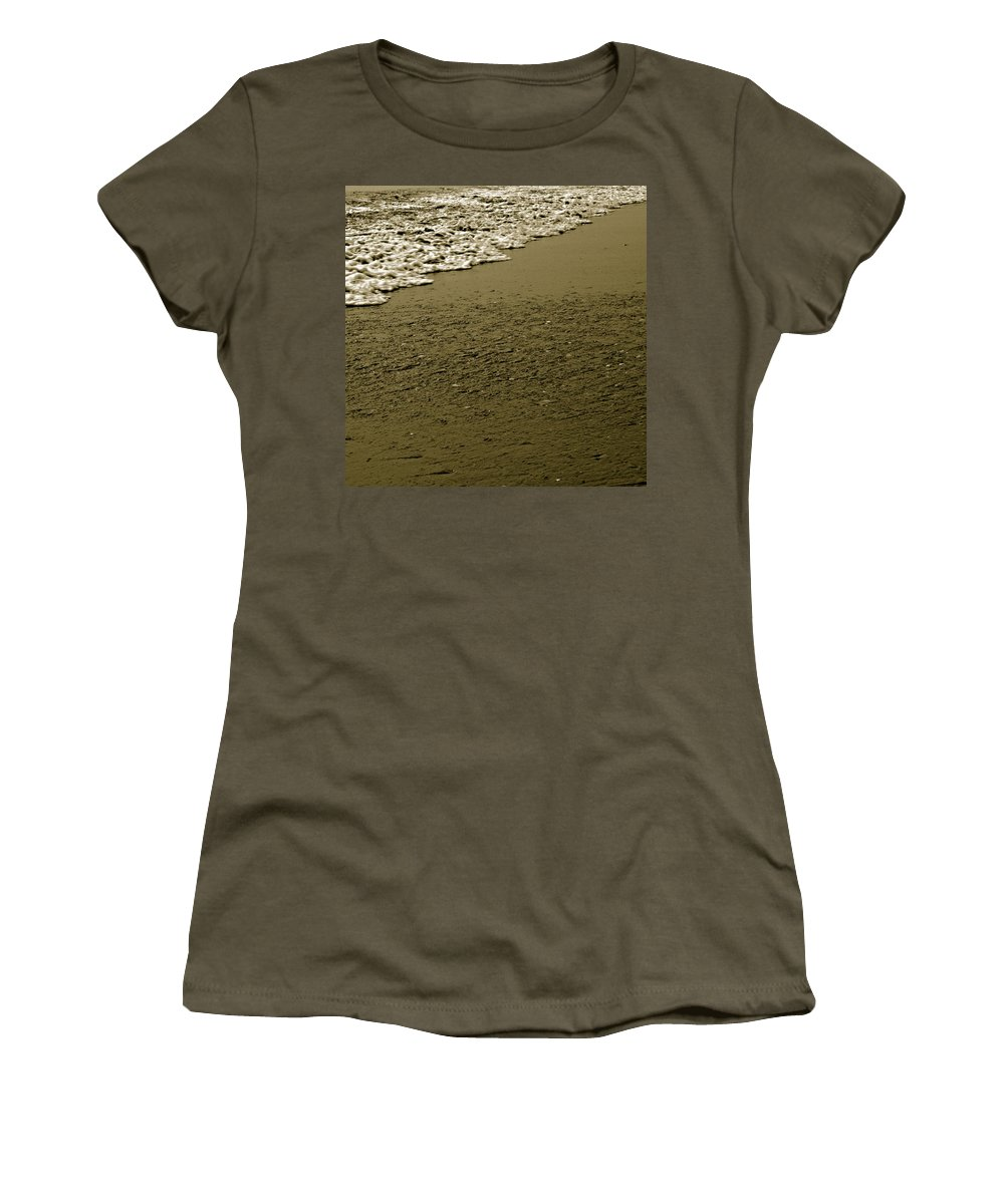 Water Women's T-Shirt (Athletic Fit) featuring the photograph Beach Texture by Jean Macaluso