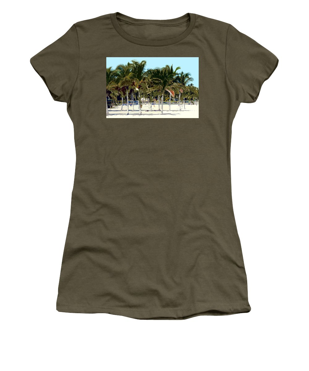 Beach Women's T-Shirt (Athletic Fit) featuring the photograph Beach Volleyball by David Lee Thompson