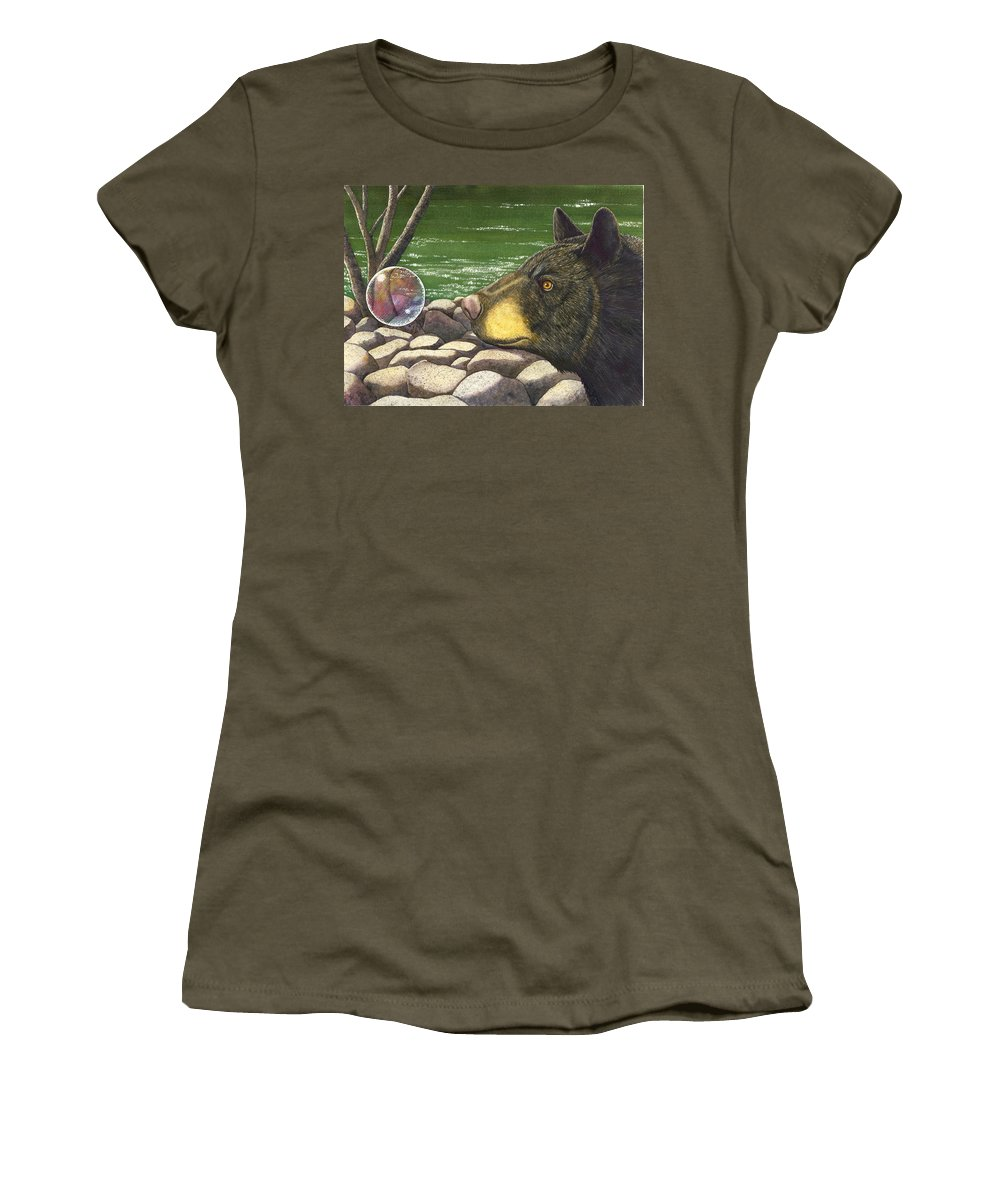 Black Bear Women's T-Shirt (Athletic Fit) featuring the painting Bear Bubble by Catherine G McElroy