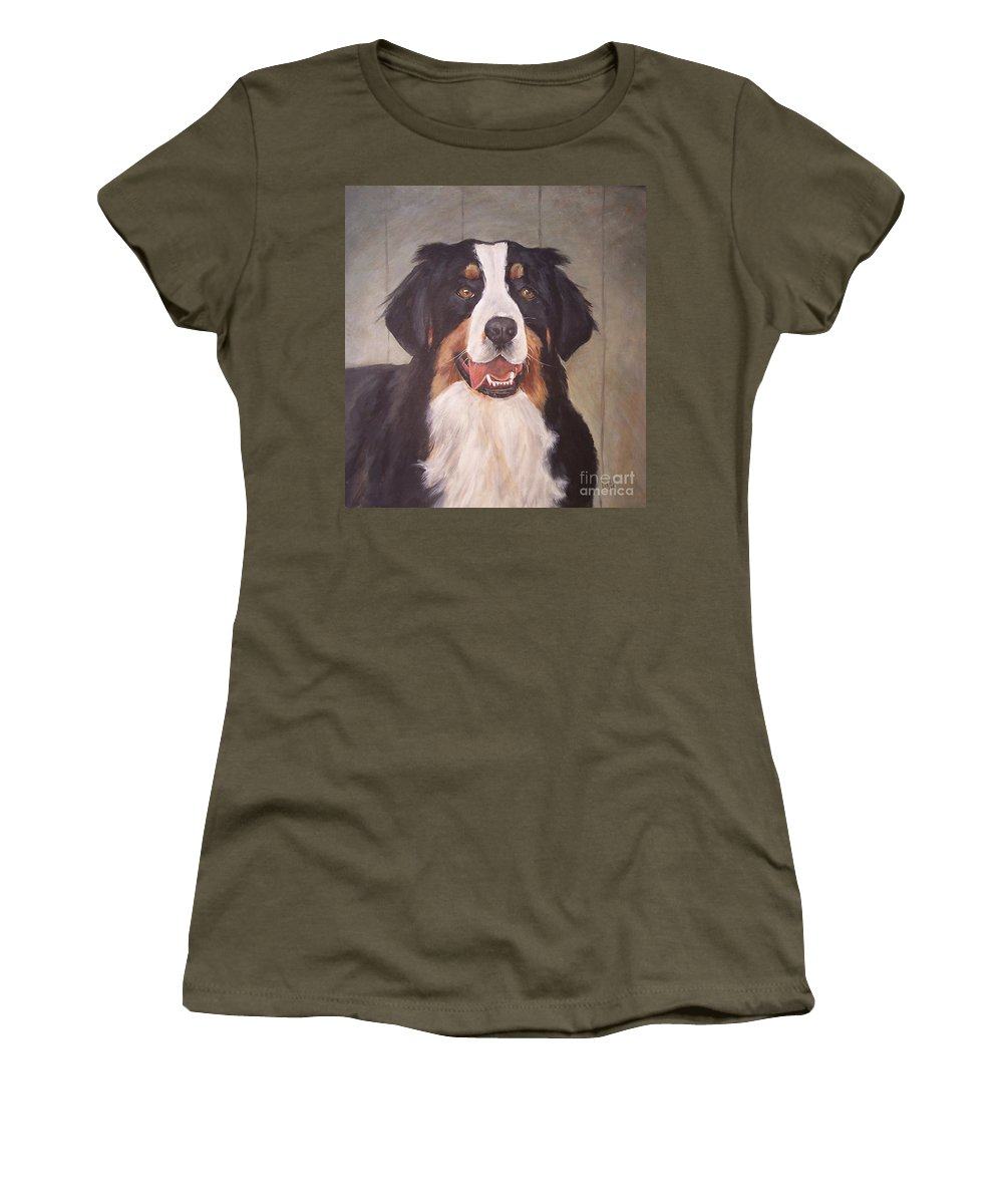 Dogs Women's T-Shirt (Athletic Fit) featuring the painting Beau by Elizabeth Ellis