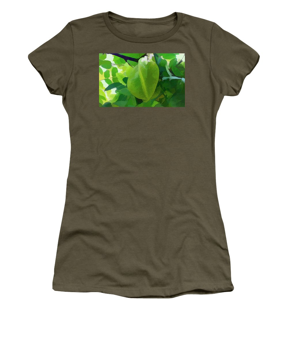 Star Apple Fruit On The Tree Women's T-Shirt featuring the painting Beautiful Carambola Fruit Tree by Jeelan Clark