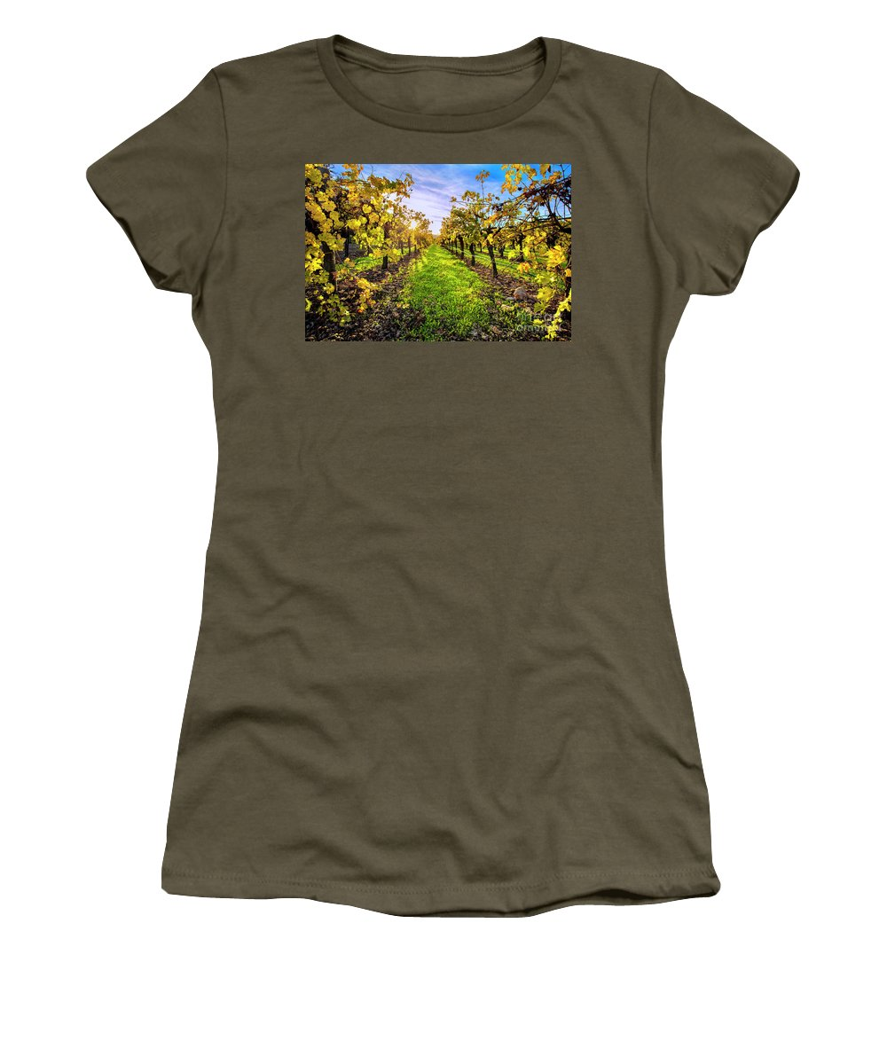 Napa Women's T-Shirt featuring the photograph Beautiful Colors On The Vines by Jon Neidert
