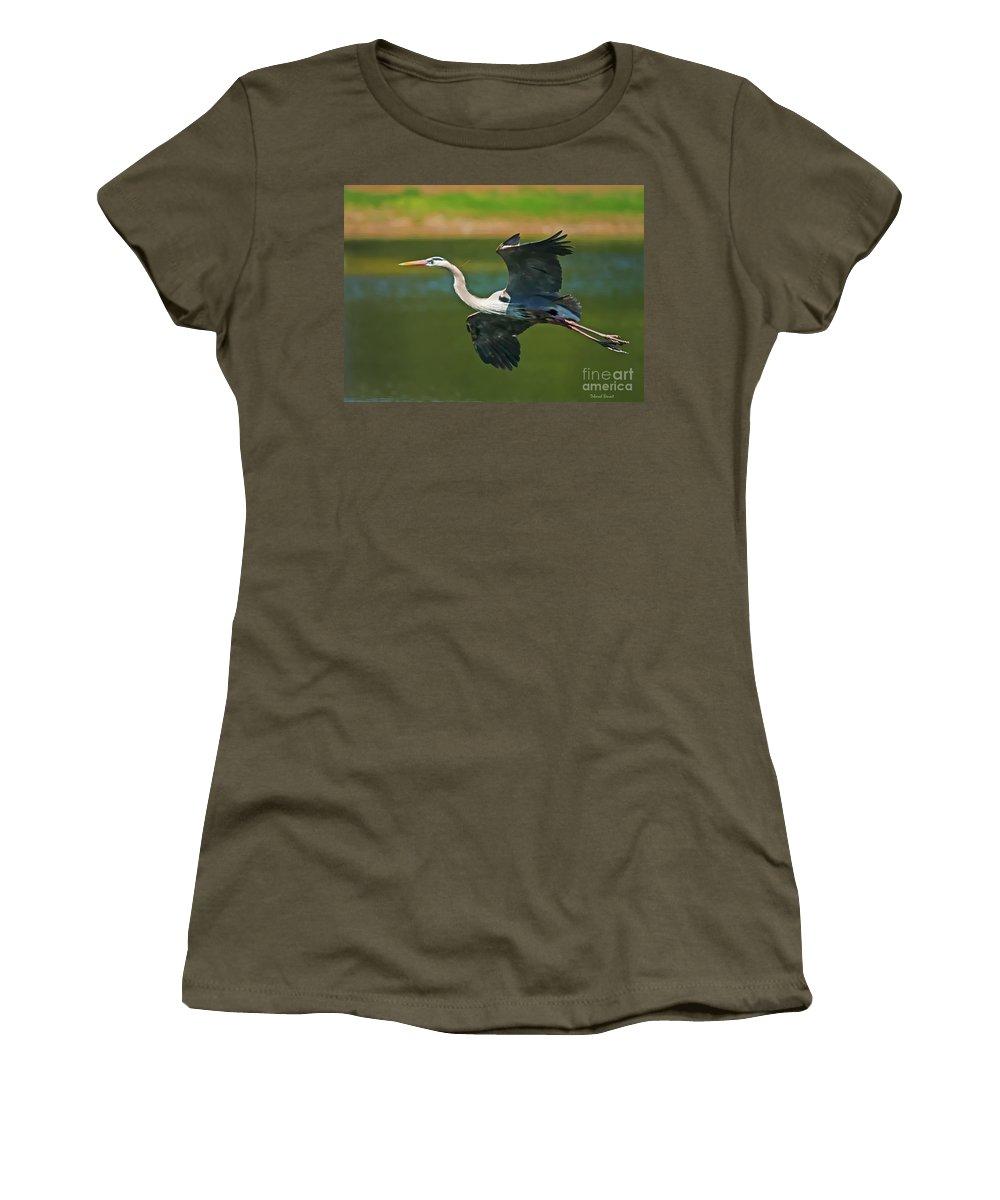 Blue Heron Women's T-Shirt (Athletic Fit) featuring the photograph Beauty In Flight by Deborah Benoit
