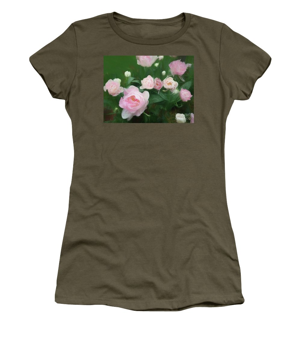 Pink Women's T-Shirt featuring the mixed media Bed Of Roses by Helen White