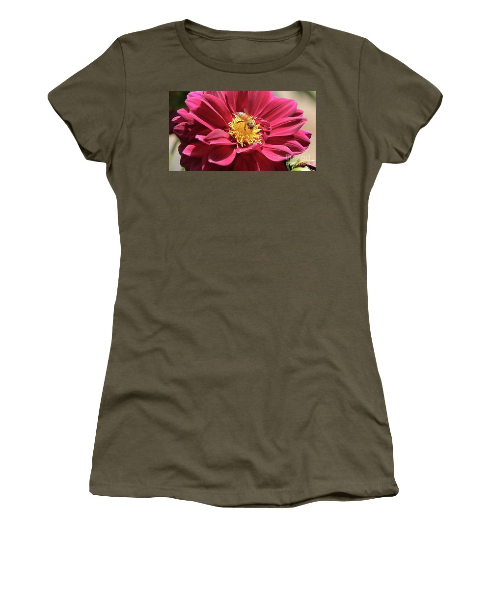 Dahlia Women's T-Shirt featuring the photograph Bee On Beautiful Dahlia by Carol Groenen