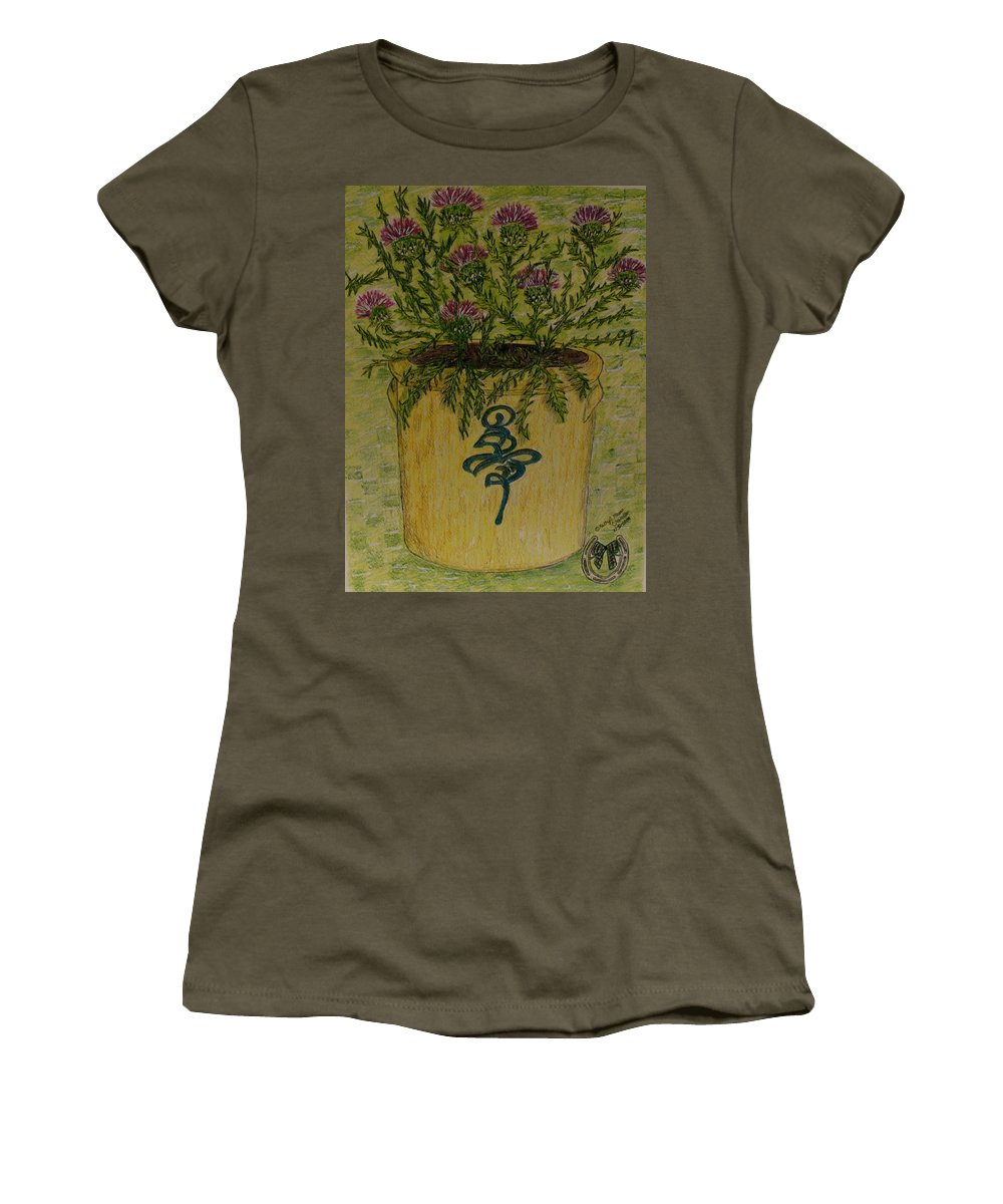 Vintage Women's T-Shirt (Athletic Fit) featuring the painting Bee Sting Crock With Good Luck Horseshoe by Kathy Marrs Chandler