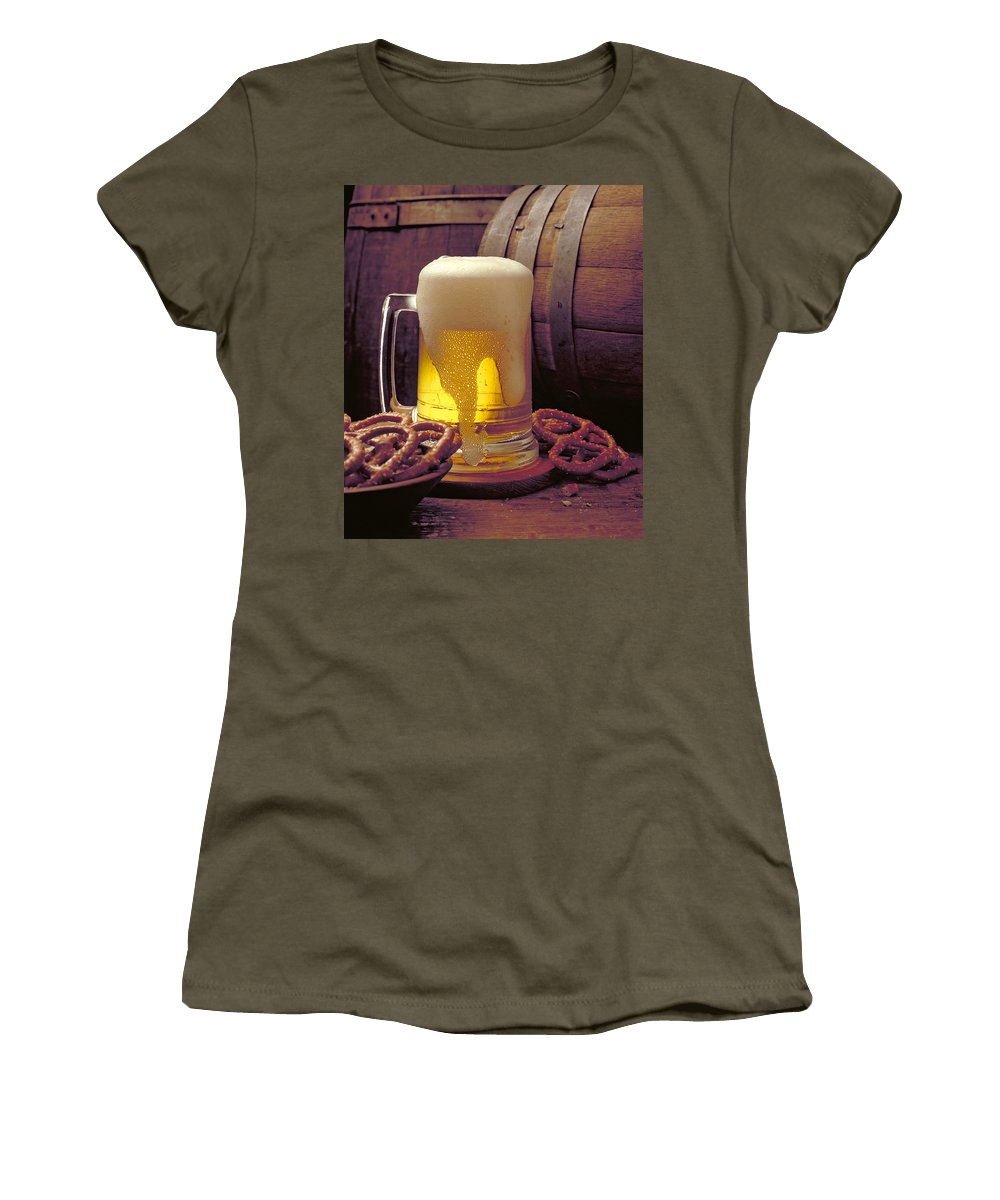 Beer Women's T-Shirt featuring the photograph Beer And Pretzels by Thomas Firak