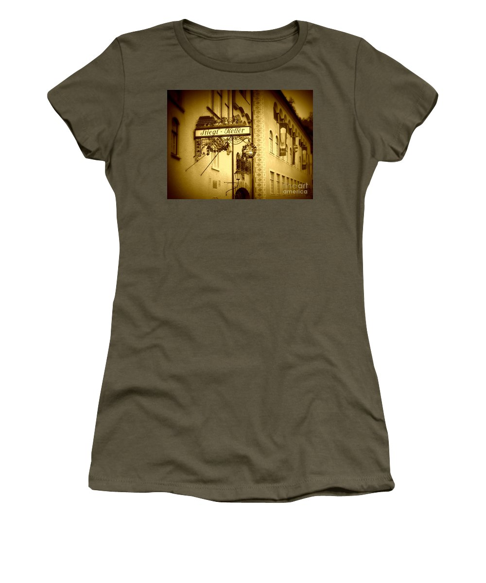 Beer Hall Women's T-Shirt (Athletic Fit) featuring the photograph Beer Cellar In Salzburg by Carol Groenen