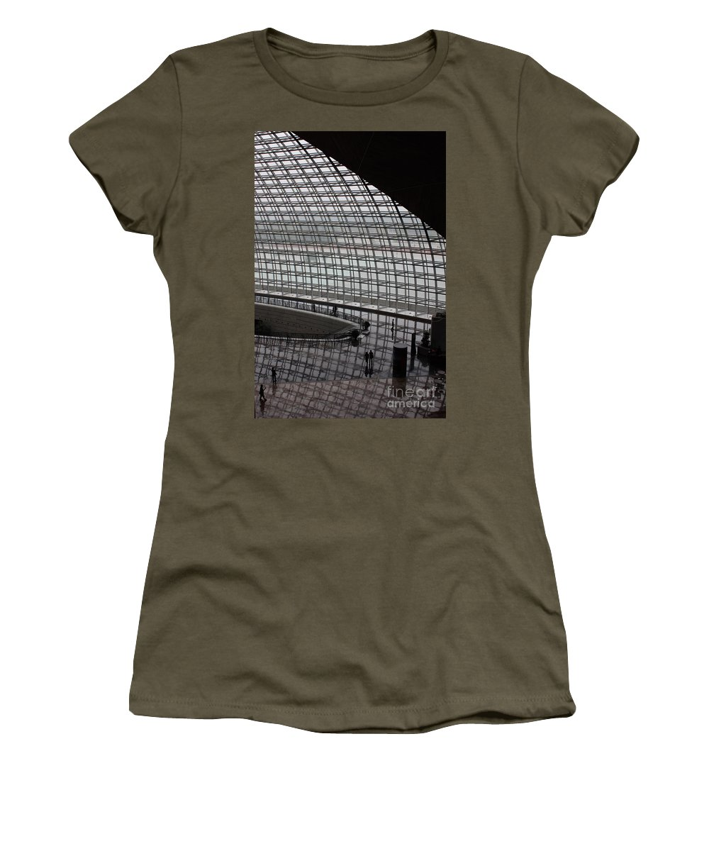 Beijing Women's T-Shirt featuring the photograph Beijing National Theatre With Silhouettes by Carol Groenen