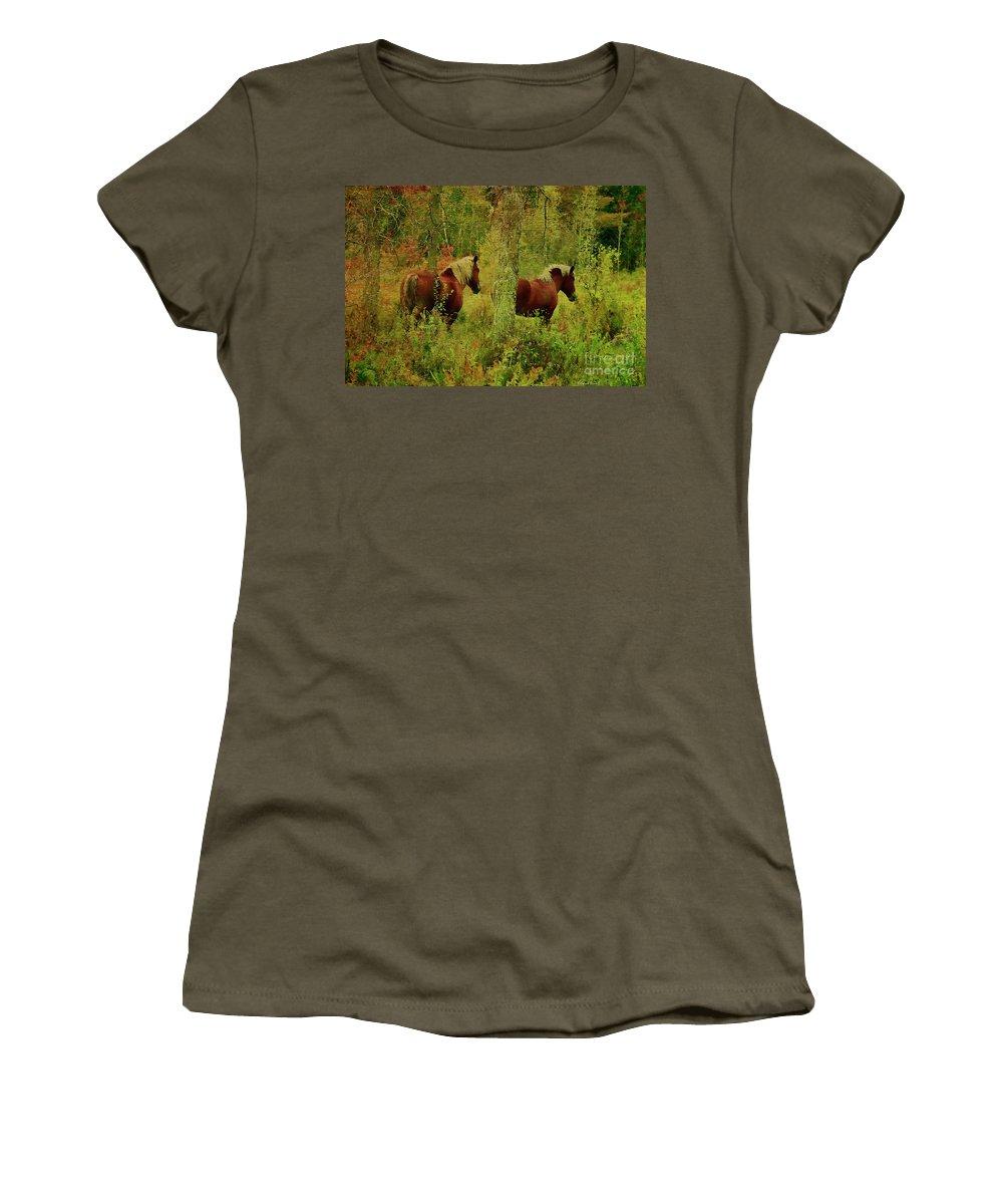 Horses Women's T-Shirt featuring the photograph Belgians In Fall by Deborah Benoit