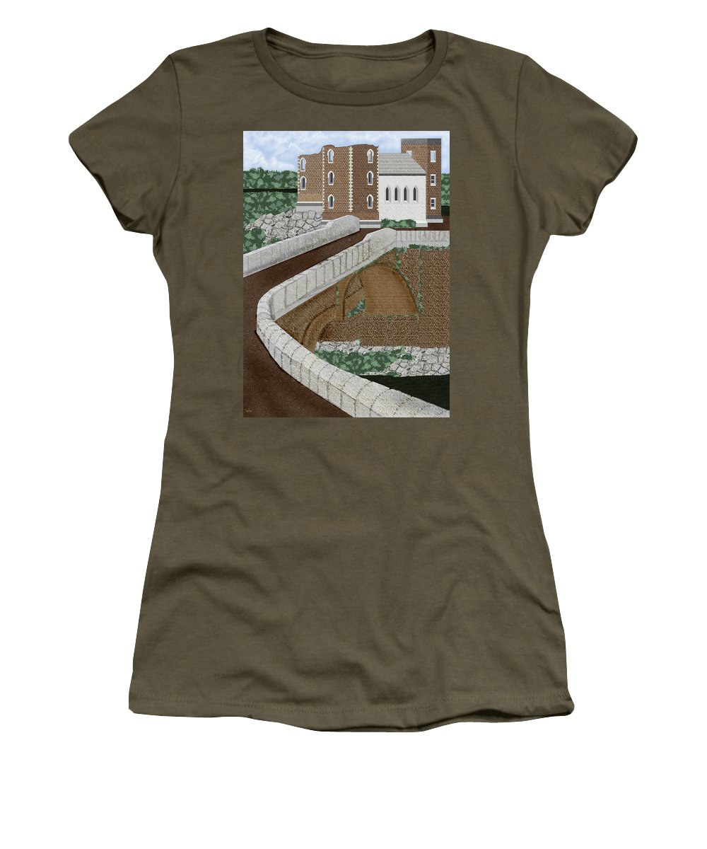 Castle Ruins Women's T-Shirt (Athletic Fit) featuring the painting Beloved Ruins by Anne Norskog
