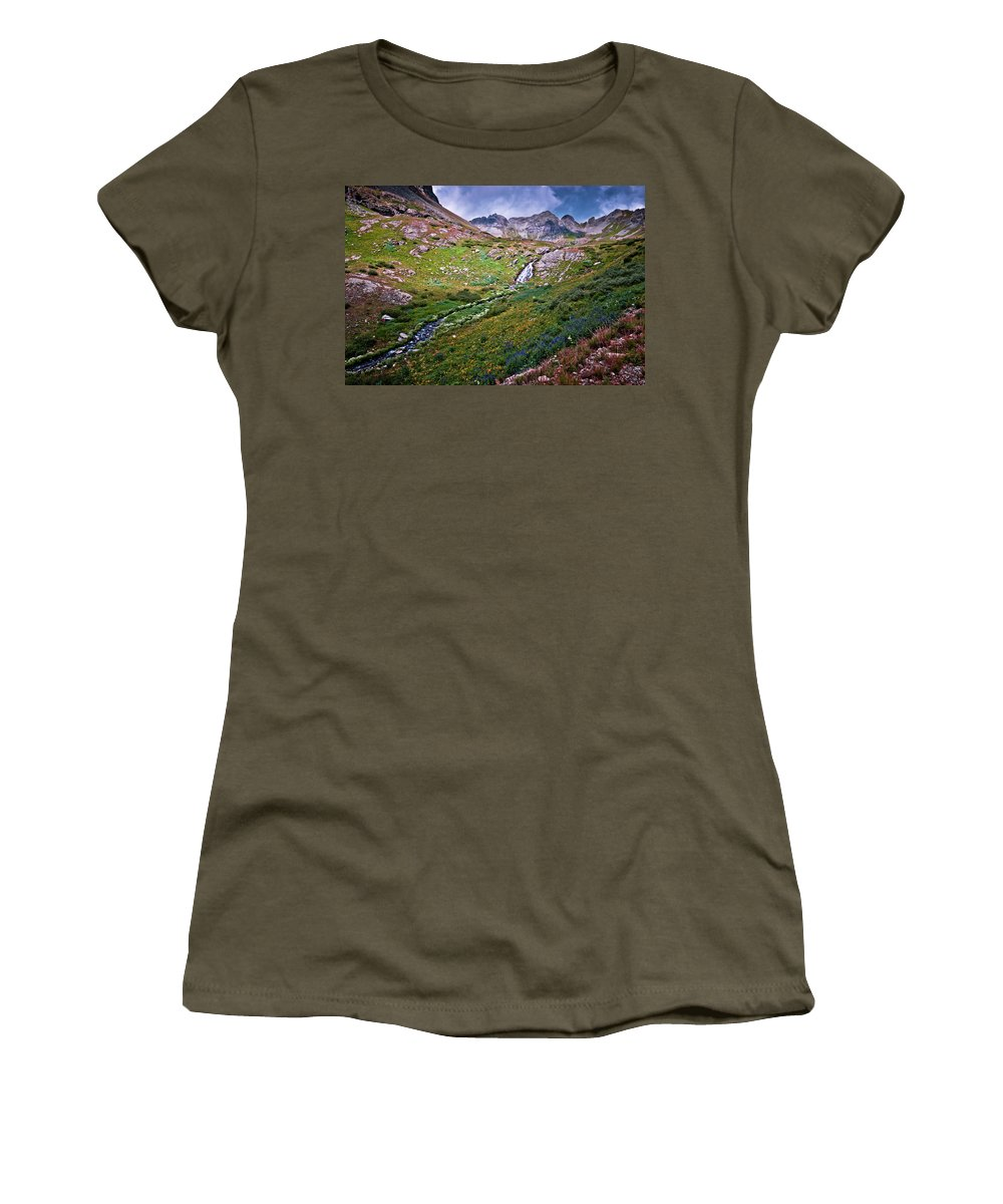 Colorado Women's T-Shirt featuring the photograph Below The Falls by Linda Unger
