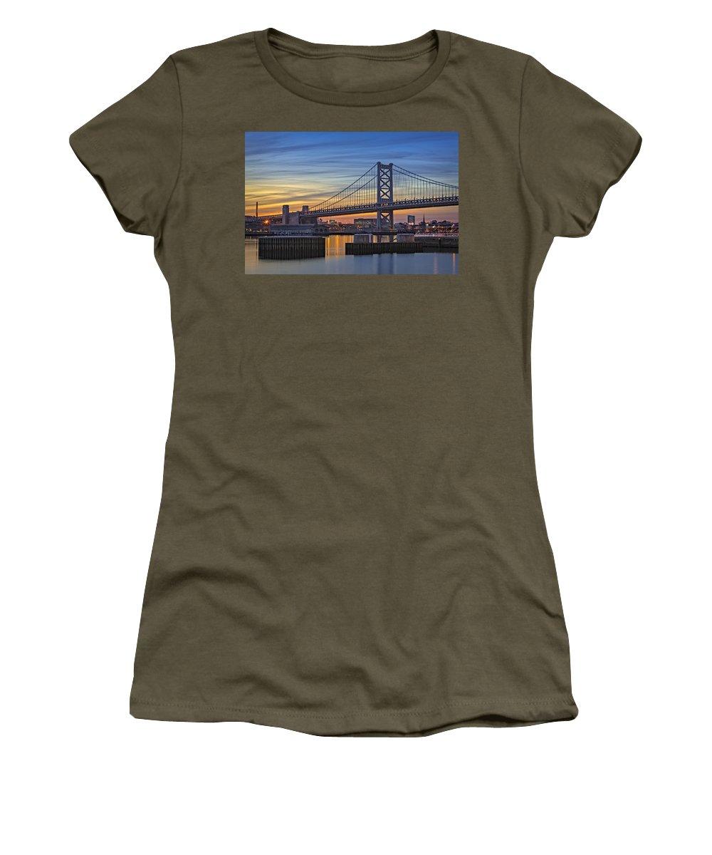 Ben Franklin Bridge Women's T-Shirt (Athletic Fit) featuring the photograph Ben Franklin Bridge by Susan Candelario