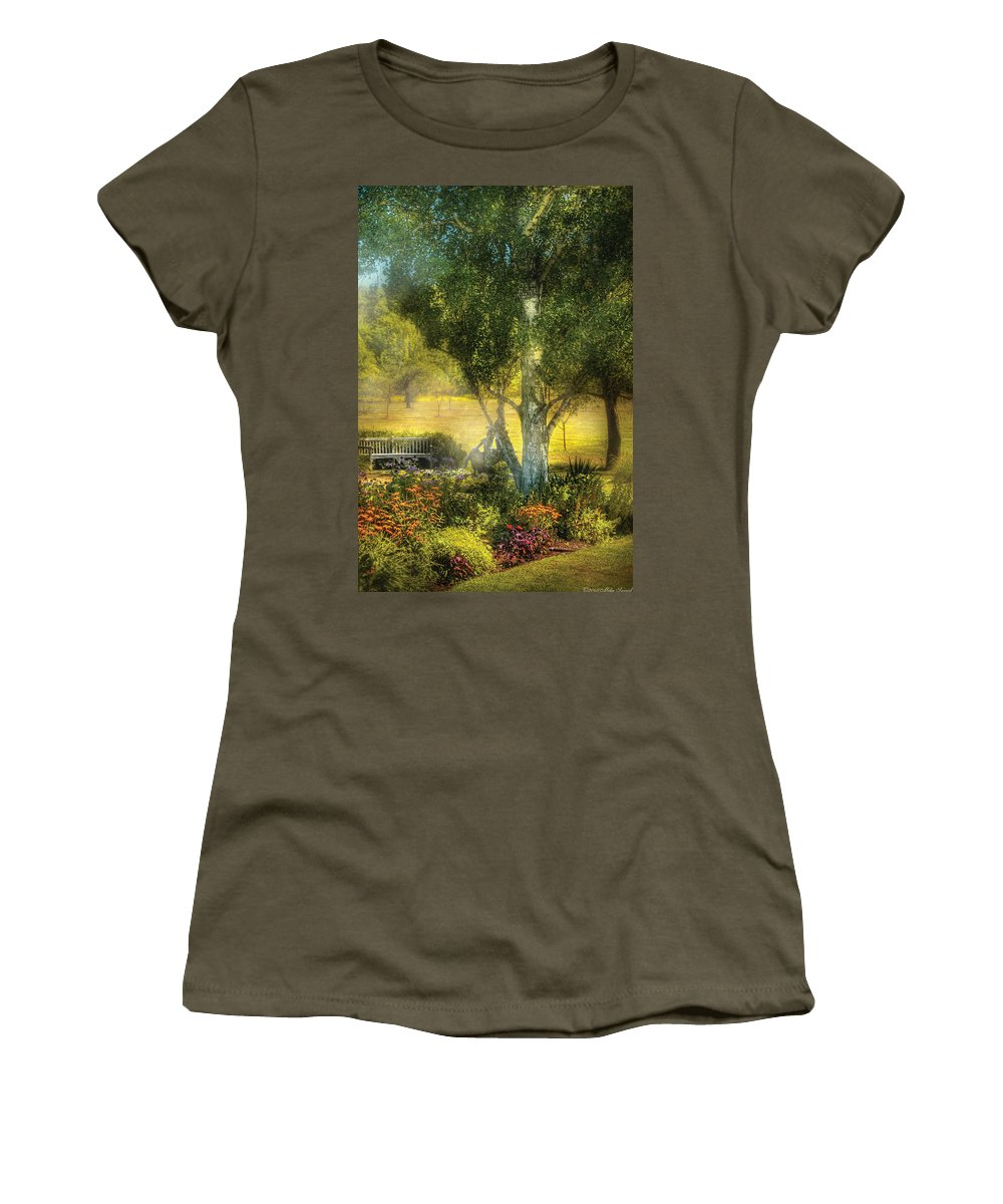 Savad Women's T-Shirt featuring the photograph Bench - I Had This Dream And It All Began by Mike Savad