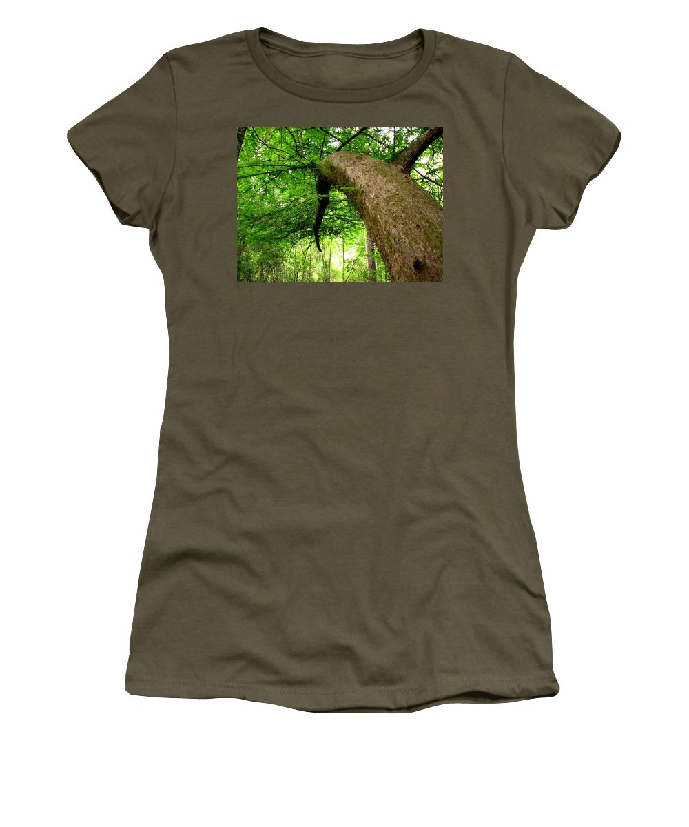Live Oak Women's T-Shirt (Athletic Fit) featuring the photograph Bending Toward The Light by J M Farris Photography