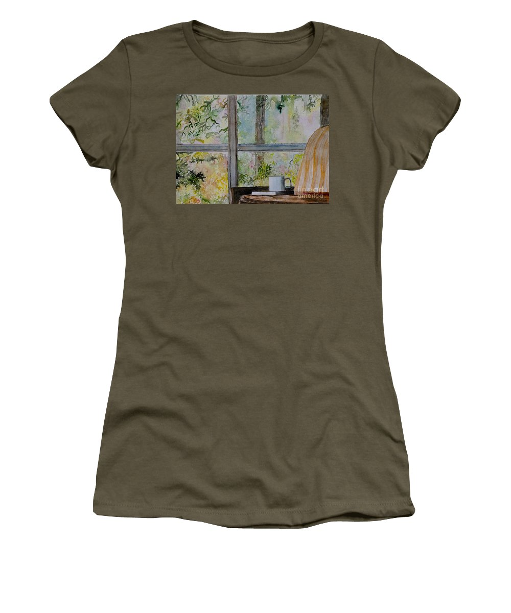 Soothing Calm Window Book Tea Coffee Nature Architecture Table Chair Reading Read Inside Outside Outdoors Indoor Pastel Sunday Vacation Holiday Retired Afternoon Evening Comfort Comfortable Interior Design Samanvitha Rao Watercolor Painting Easy Freedom Spring Summer Garden Backyard Flowers Women's T-Shirt featuring the painting Beside A Window by Samanvitha Rao