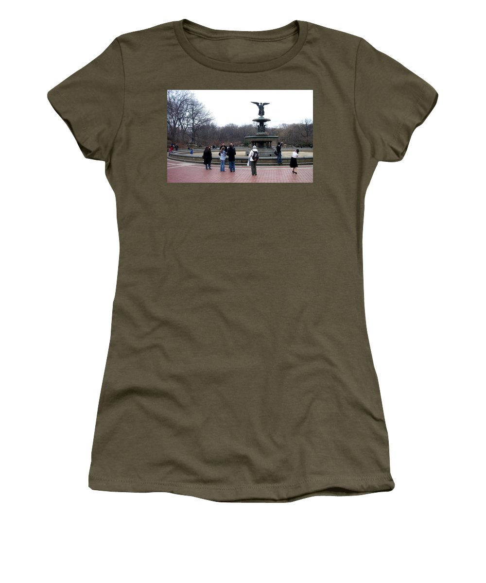 Bethesda Fountain Women's T-Shirt featuring the photograph Bethesda Fountain by Anita Burgermeister