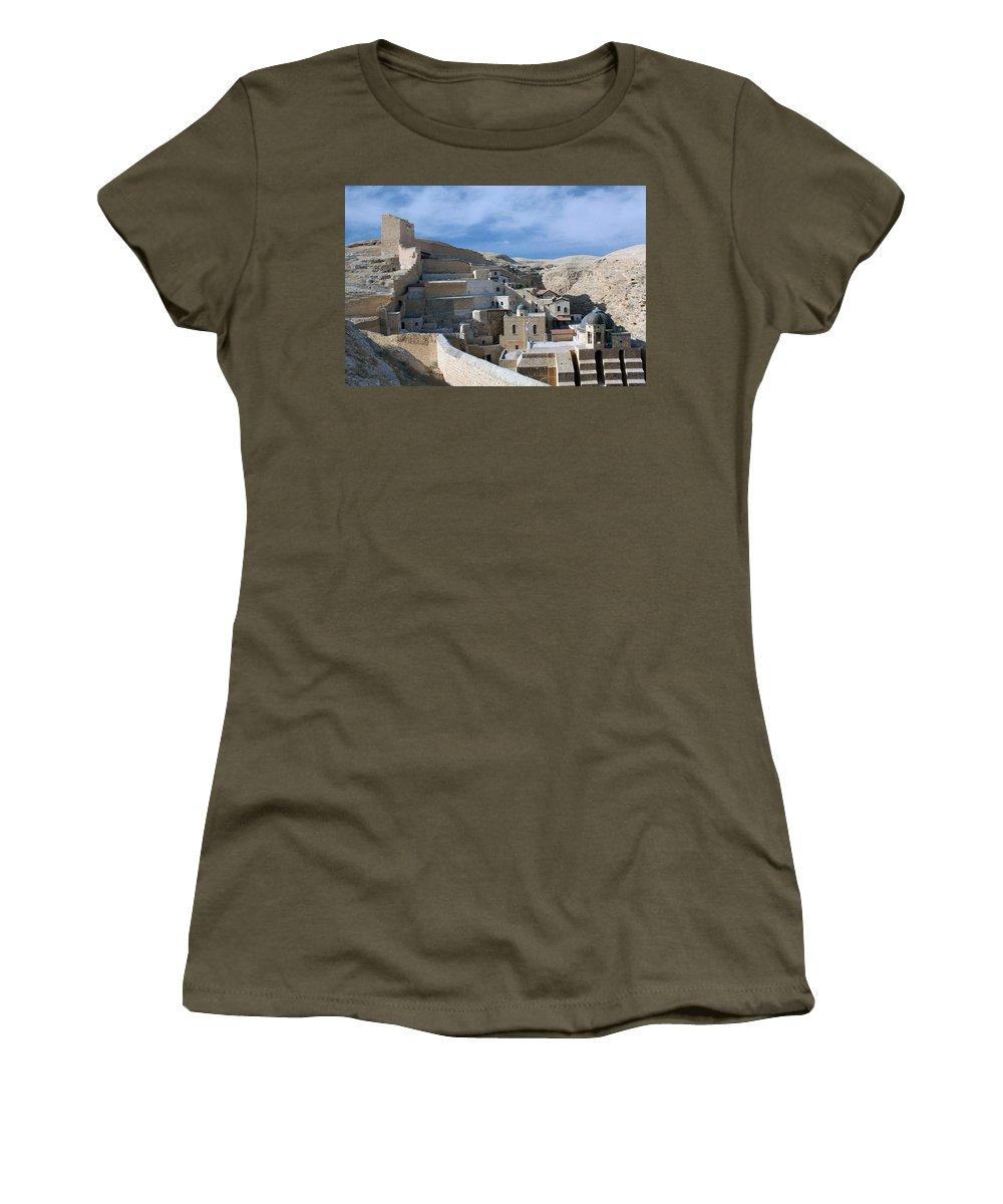 Bethlehem Women's T-Shirt featuring the photograph Bethlehem - Mar Saba Monstary 2010 by Munir Alawi