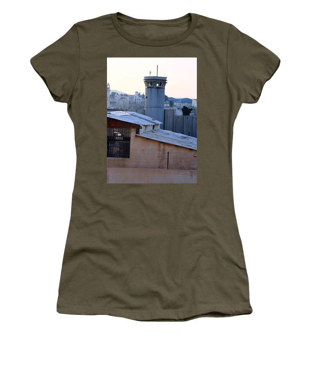Watchtower Women's T-Shirt (Athletic Fit) featuring the photograph Bethlehem Watchtower by Munir Alawi