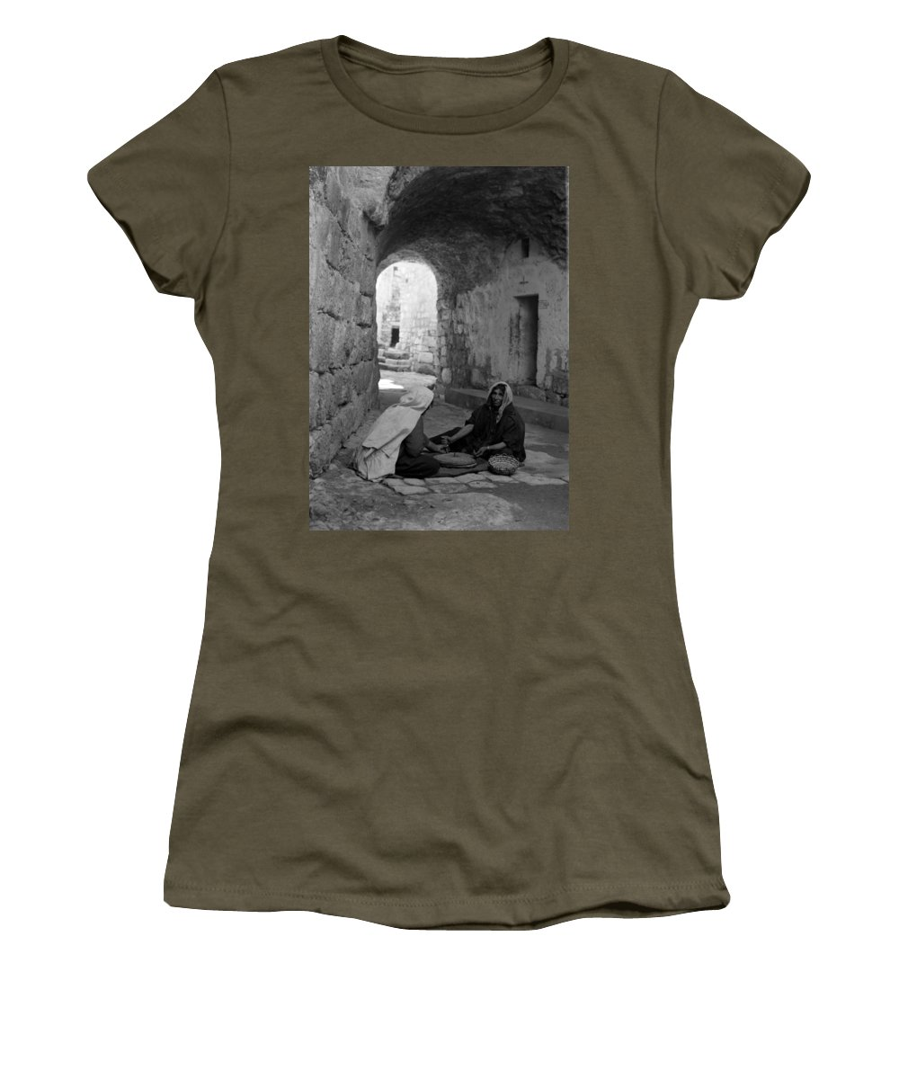 Bethlehem Women's T-Shirt featuring the photograph Bethlehemites Making Bread by Munir Alawi