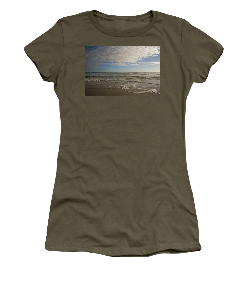 Wave Sand Ocean Beach Sky Water Wave Tide Sun Sunny Vacation Cloud Morning Early Women's T-Shirt featuring the photograph Between Night And Day by Andrei Shliakhau