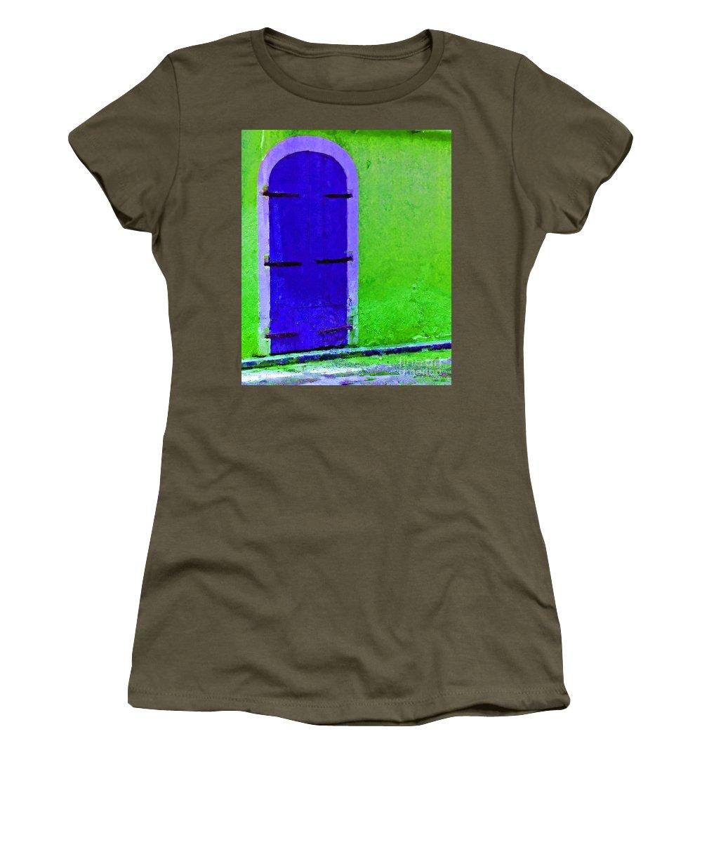 Door Women's T-Shirt featuring the photograph Beyond The Blue Door by Debbi Granruth