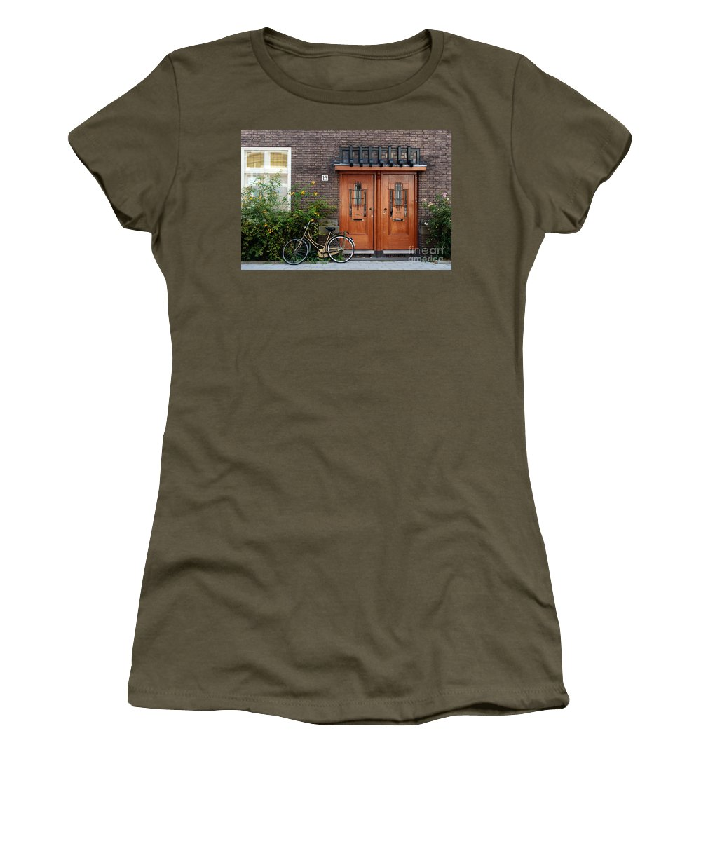 Bicycle Women's T-Shirt featuring the photograph Bicycle And Wooden Door by Thomas Marchessault