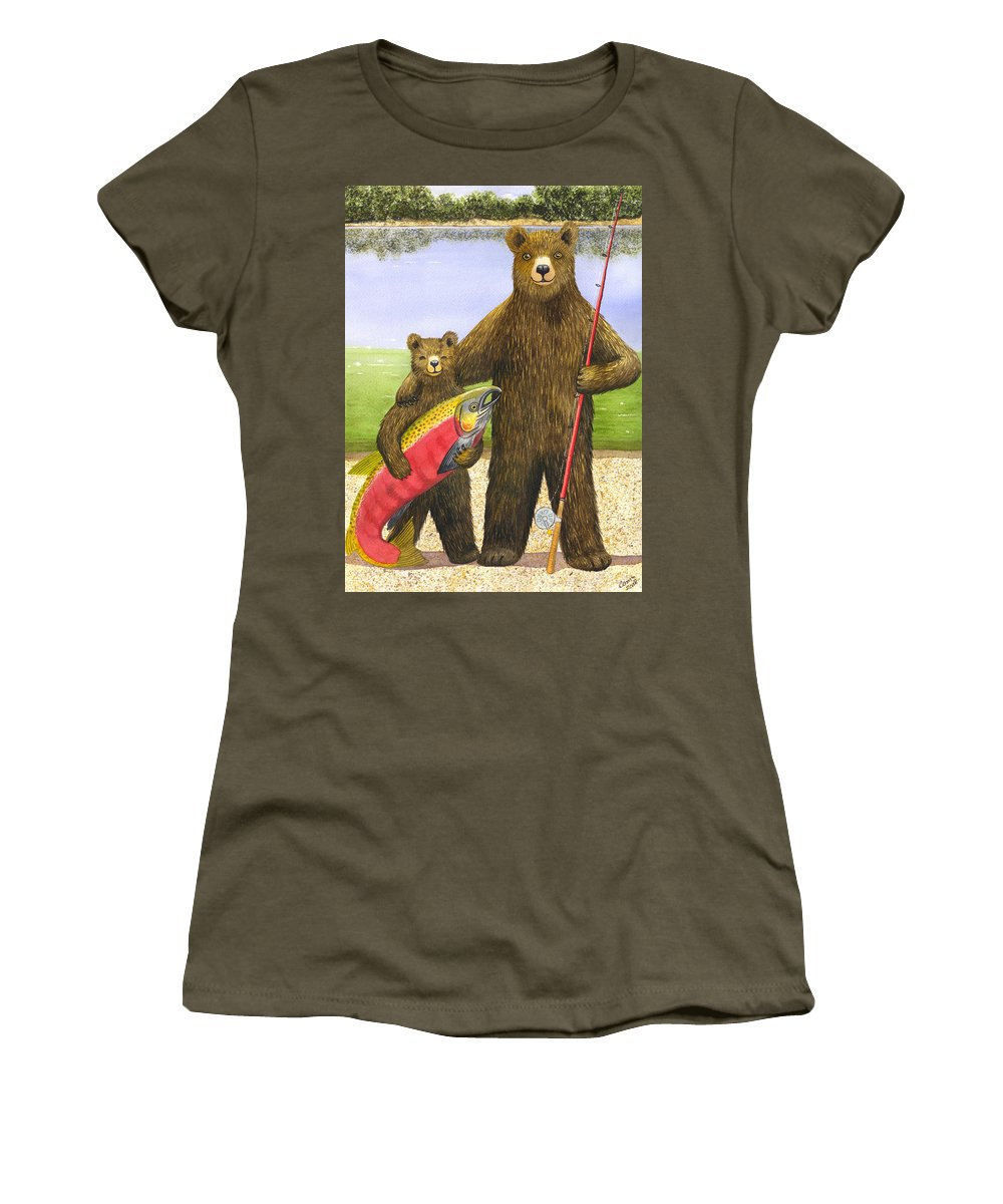 Bear Women's T-Shirt (Athletic Fit) featuring the painting Big Fish by Catherine G McElroy