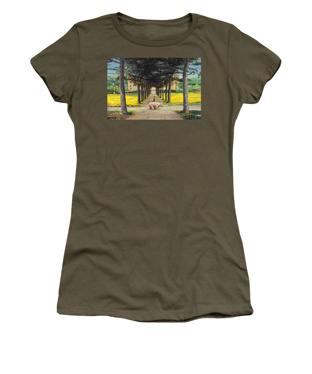 Farmer; Villa; Landscape; Italian; Italy; Animal; Pig; Big Pig; Tree; Trees; Tuscany; Pistoia Women's T-Shirt featuring the painting Big Pig - Pistoia -tuscany by Trevor Neal