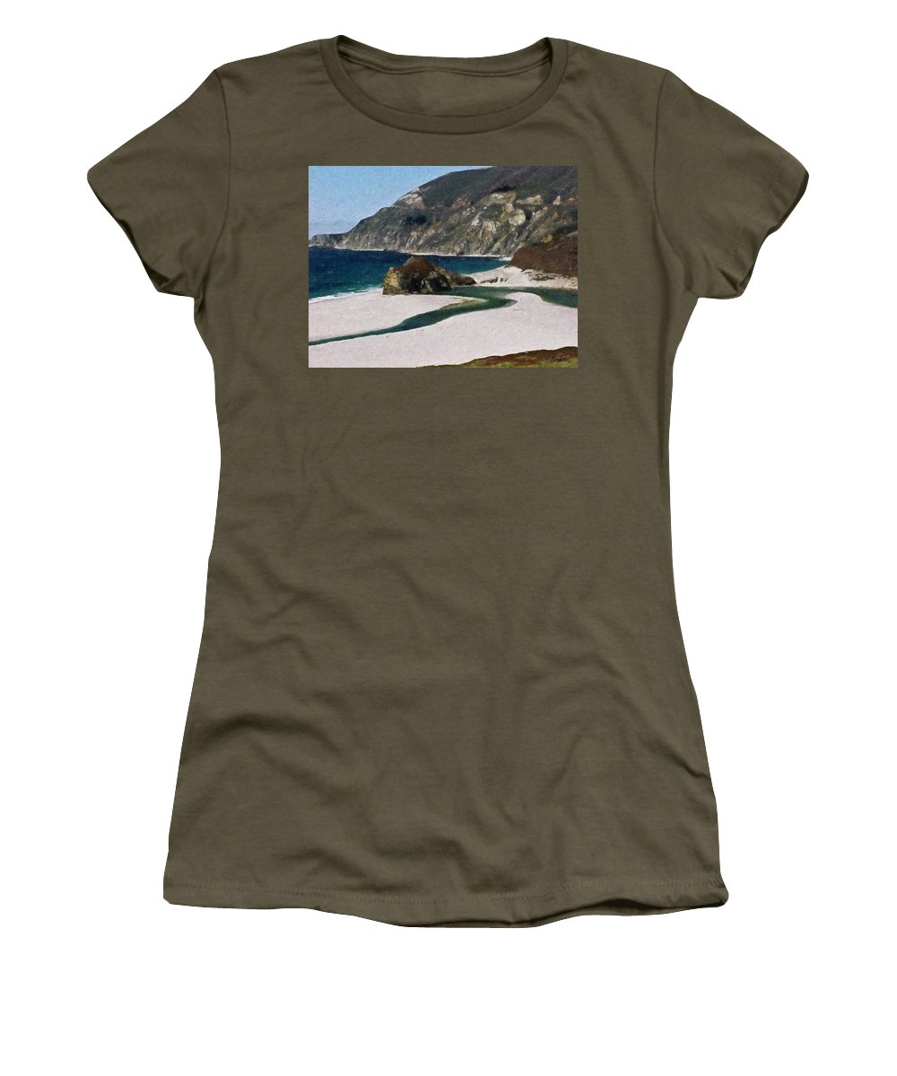California Women's T-Shirt featuring the painting Big Sur California by Teresa Mucha