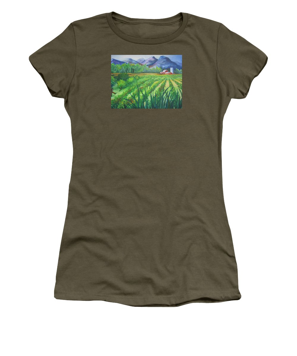 Landscape Women's T-Shirt featuring the painting Big Valley Farm by Karen Stark