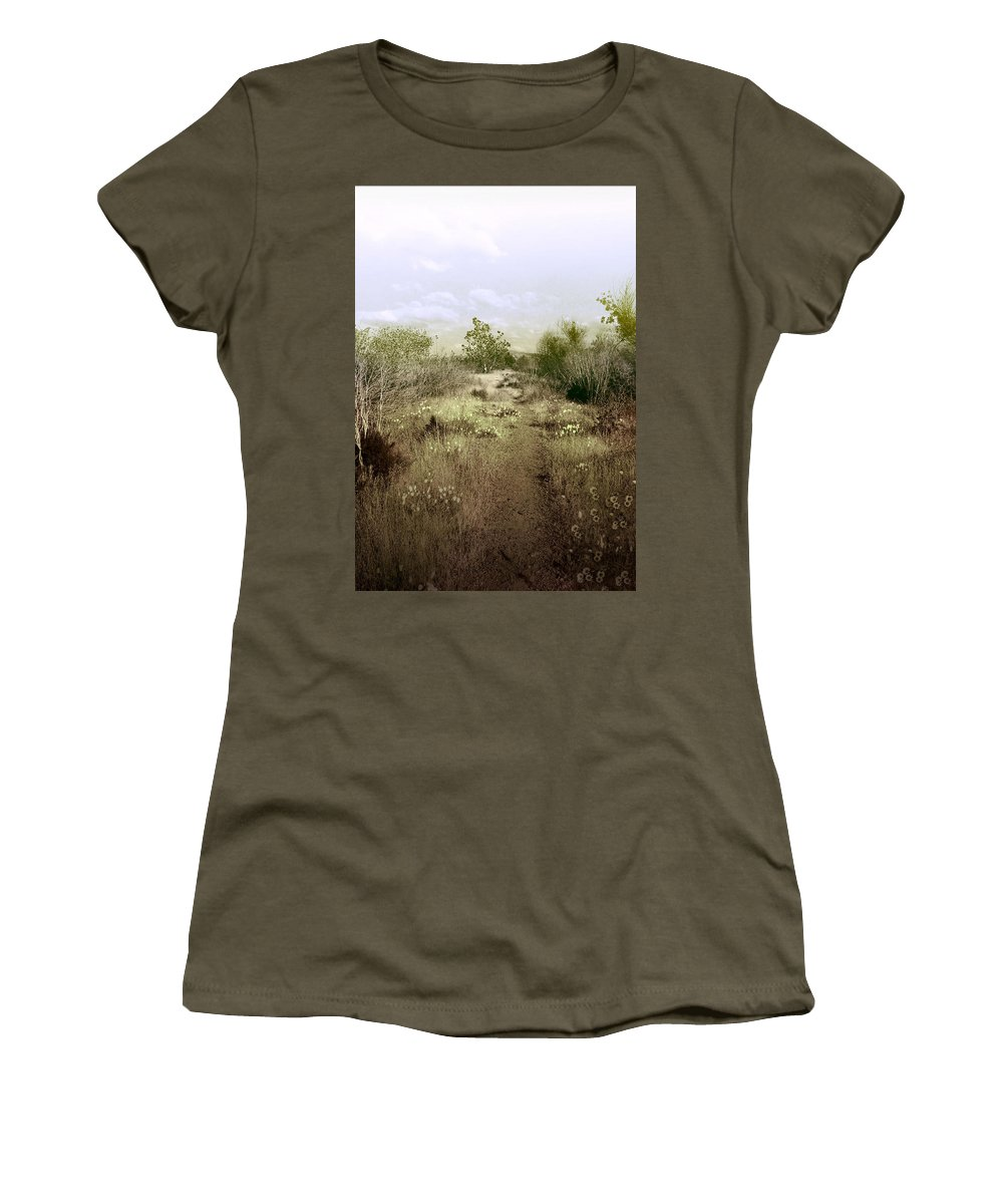 Landscape Women's T-Shirt (Athletic Fit) featuring the photograph Bike Path Brown by Karen W Meyer