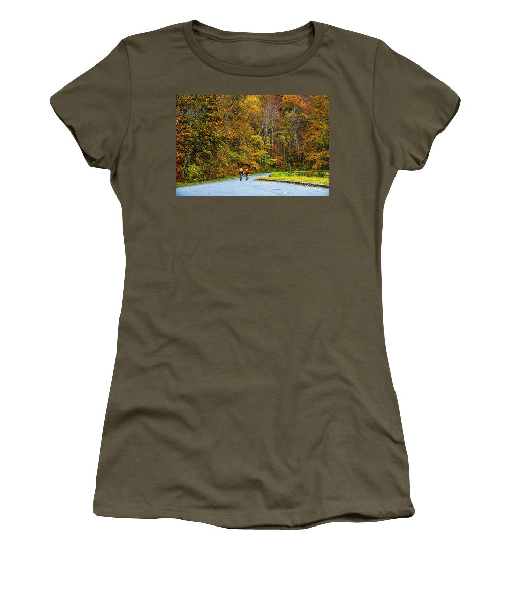 Autumn Leaves Women's T-Shirt featuring the photograph Biking On The Parkway by Roberta Bragan