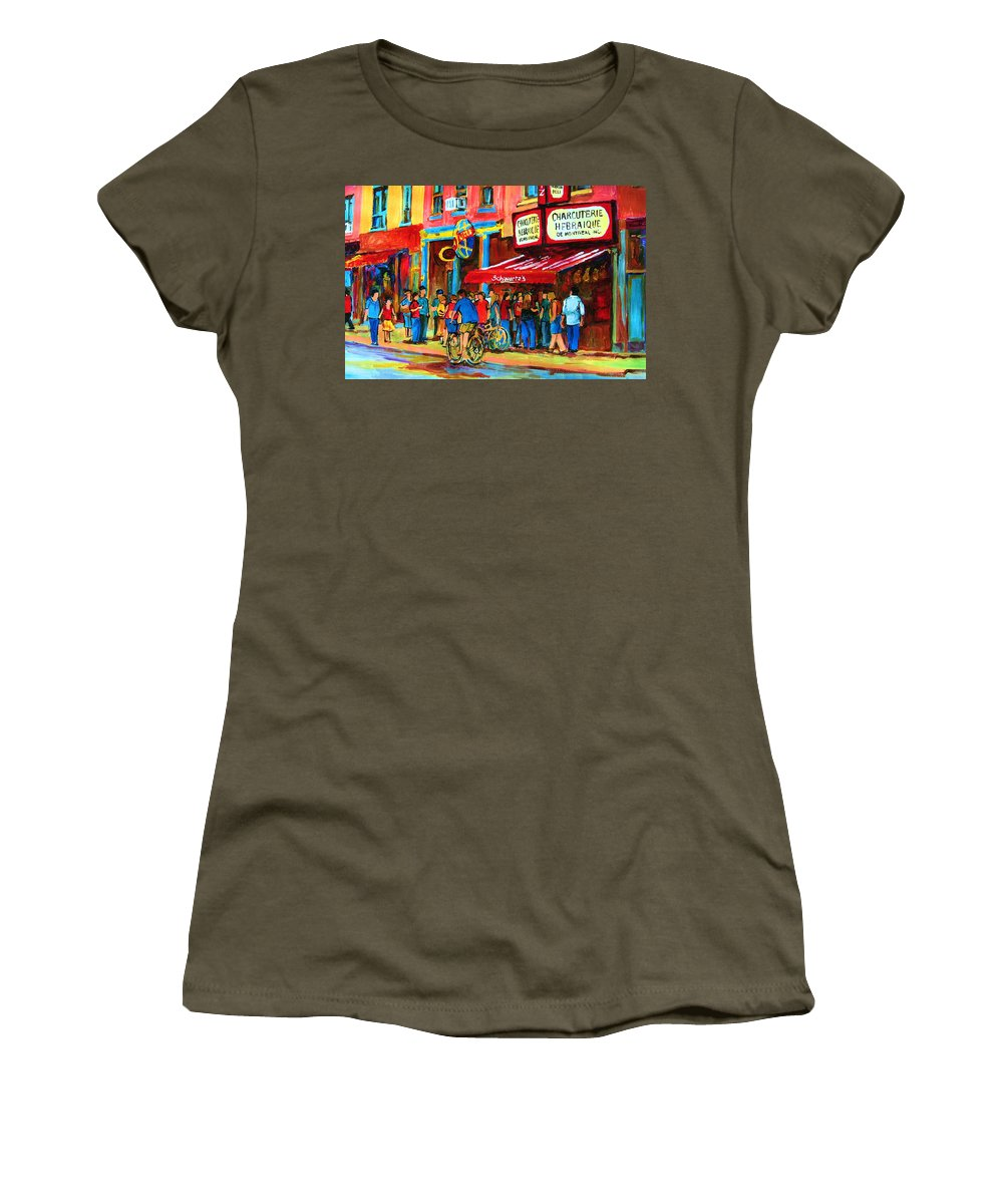 Schwartzs Smoked Meat Deli Women's T-Shirt featuring the painting Biking Past The Deli by Carole Spandau