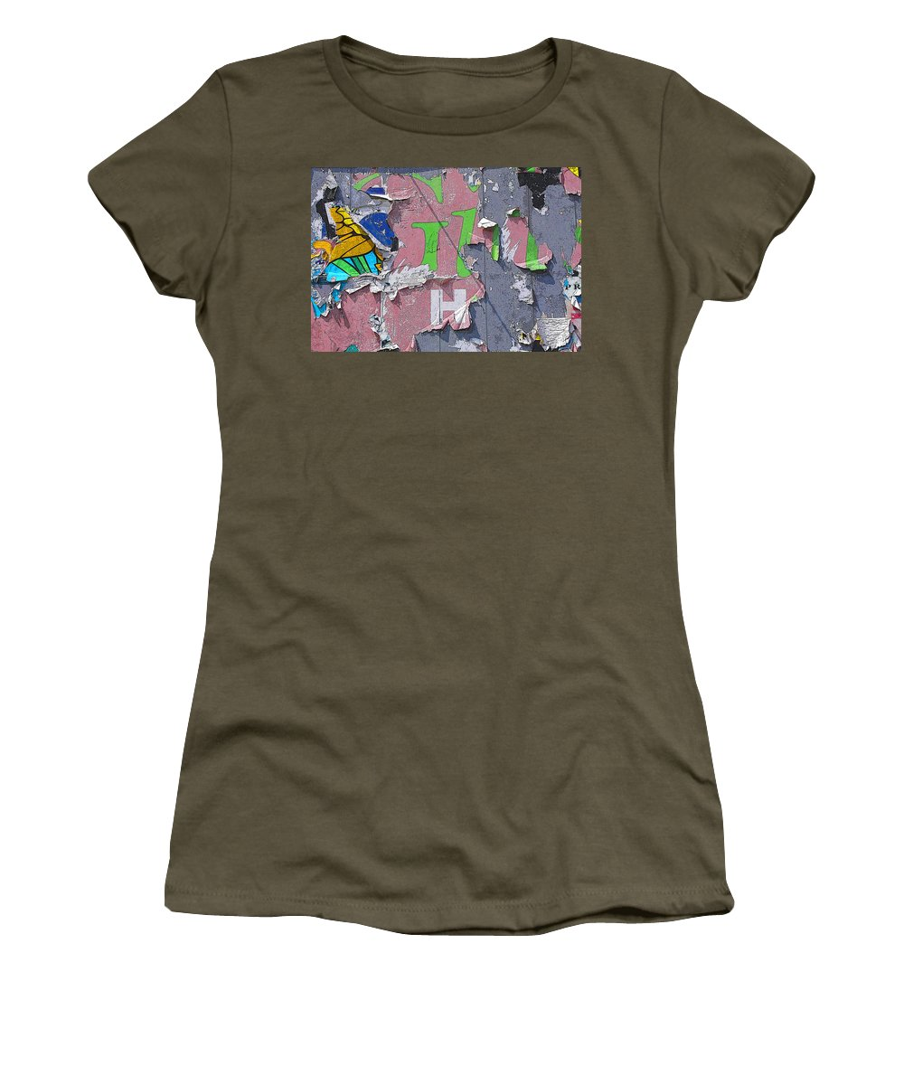 Abstract Women's T-Shirt (Athletic Fit) featuring the painting Billboard Abstract Butterfly by Anne Cameron Cutri