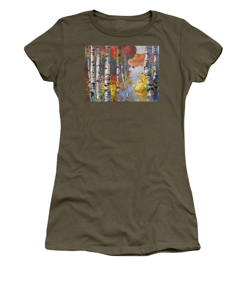 Landscape Women's T-Shirt featuring the painting Birch Trees By The Lake by Ylli Haruni