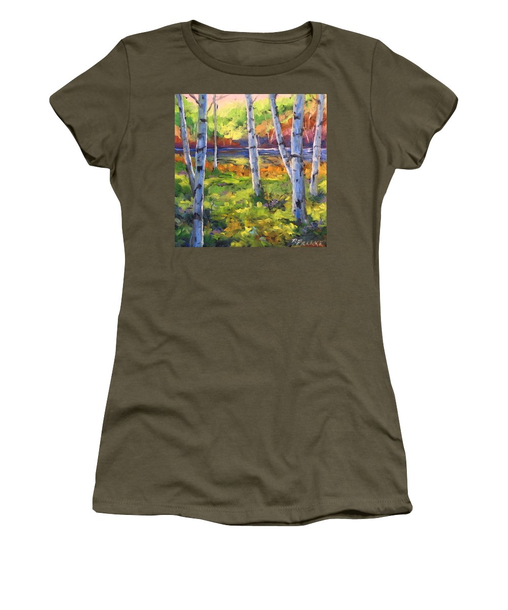 Art Women's T-Shirt (Athletic Fit) featuring the painting Birches 01 by Richard T Pranke