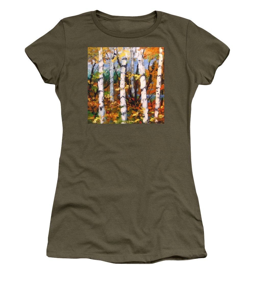 Art Women's T-Shirt (Athletic Fit) featuring the painting Birches 03 by Richard T Pranke