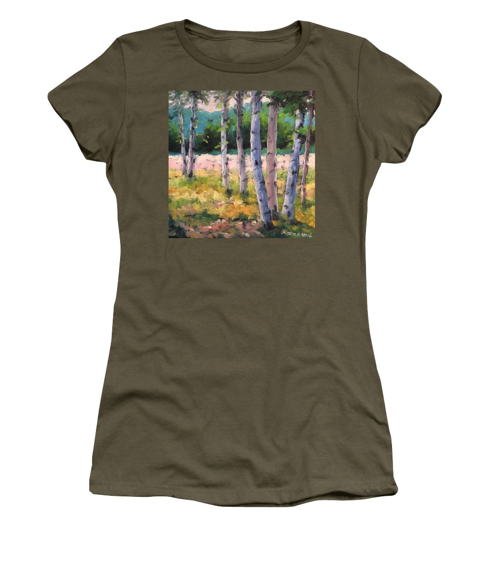 Art Women's T-Shirt featuring the painting Birches 04 by Richard T Pranke
