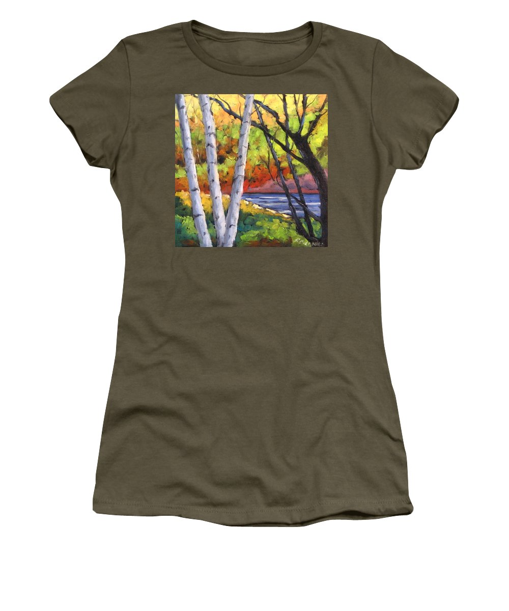 Art Women's T-Shirt featuring the painting Birches 06 by Richard T Pranke