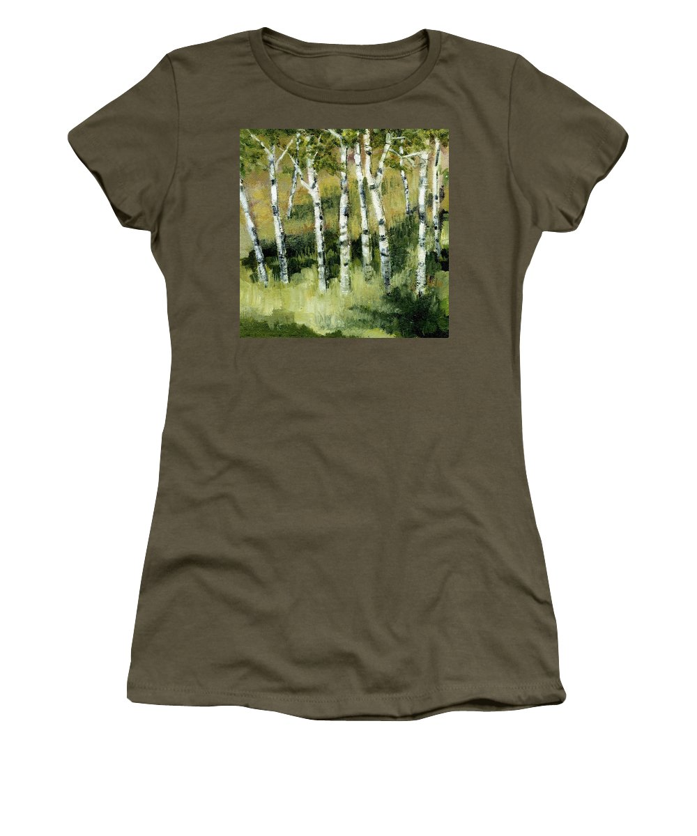 Trees Women's T-Shirt (Athletic Fit) featuring the painting Birches On A Hill by Michelle Calkins