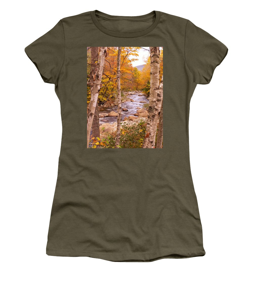 Landscape Women's T-Shirt featuring the photograph Birches On The Kancamagus Highway by Nancy Griswold