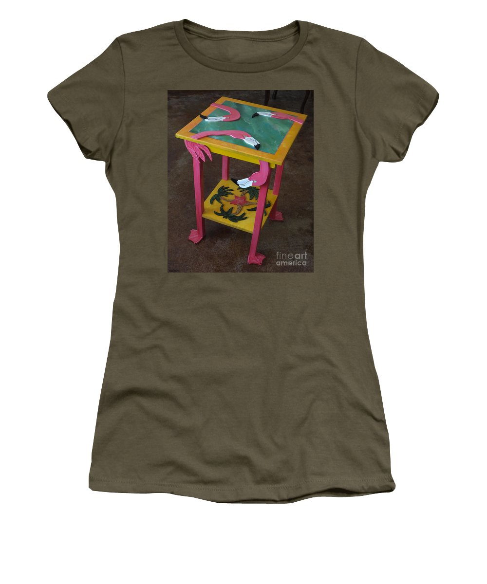 Table Women's T-Shirt (Athletic Fit) featuring the mixed media Barefootin' Table by Lizi Beard-Ward