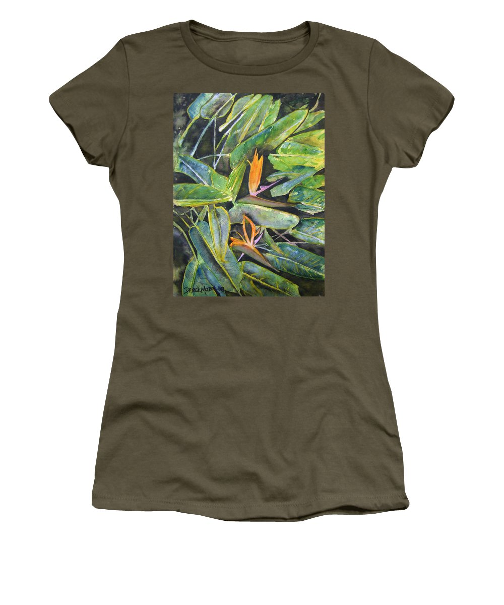 Flower Women's T-Shirt (Athletic Fit) featuring the painting Bird Of Paradise 2 by Derek Mccrea