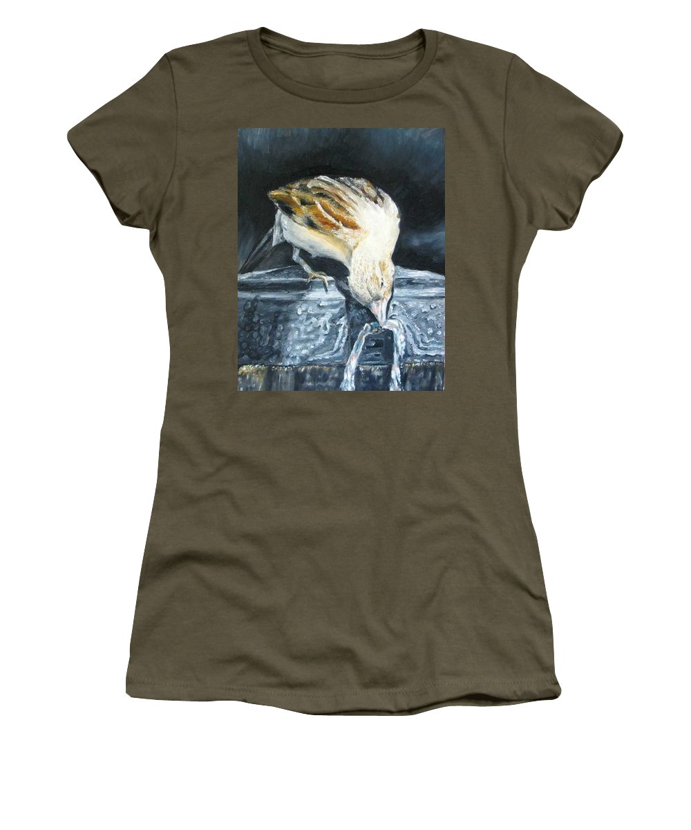 Oil Painting On Canvas Women's T-Shirt (Athletic Fit) featuring the painting Bird Original Oil Painting by Natalja Picugina