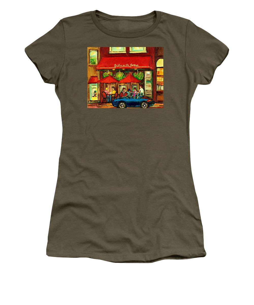 Bistro On Greene Avenue Women's T-Shirt (Athletic Fit) featuring the painting Bistro On Greene Avenue In Montreal by Carole Spandau