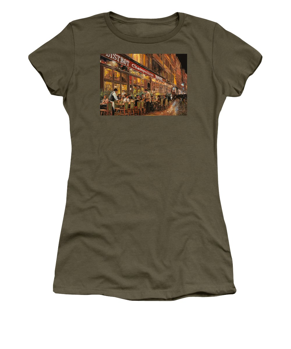 Street Scene Women's T-Shirt (Athletic Fit) featuring the painting Bistrot Champollion by Guido Borelli