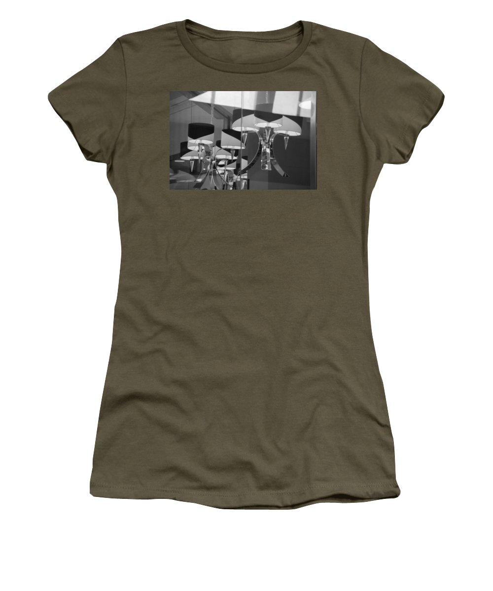 Chandeliers Women's T-Shirt (Athletic Fit) featuring the photograph Black And White Lights by Rob Hans