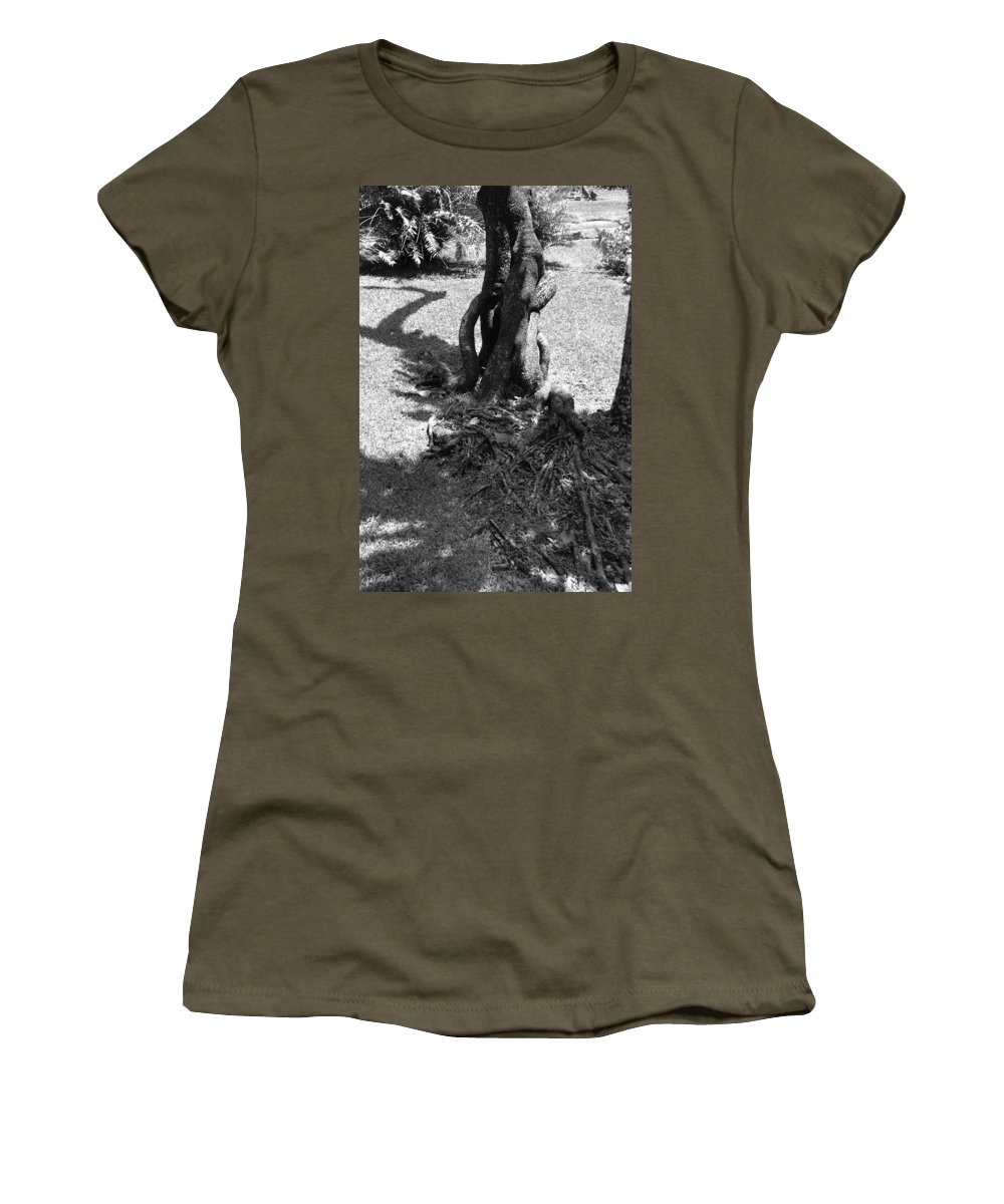 Black And White Women's T-Shirt (Athletic Fit) featuring the photograph Black And White Roots by Rob Hans