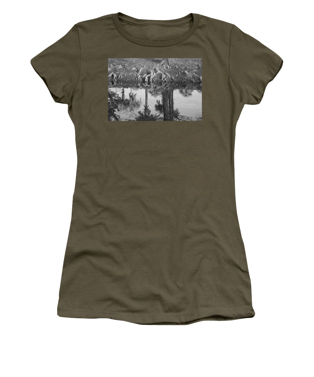 Roots Women's T-Shirt featuring the photograph Black And White Water Reflections by Rob Hans